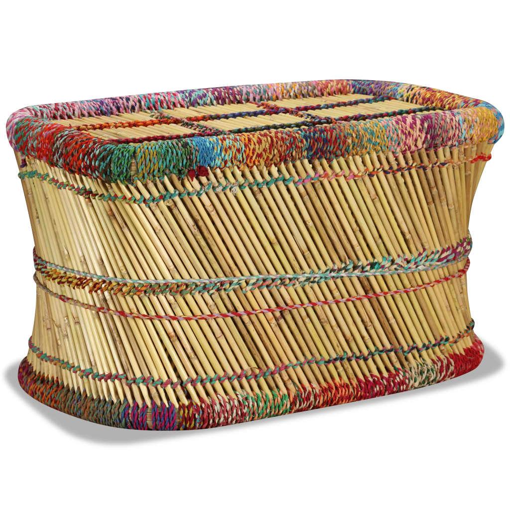 vidaXL Konferenční stolek, bambus s látkou chindi, vícebarevný