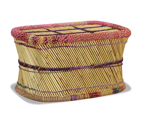 vidaXL Table basse Bambou avec Détails Chindi Multicolore[4/9]