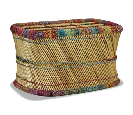 vidaXL Table basse Bambou avec Détails Chindi Multicolore[5/9]