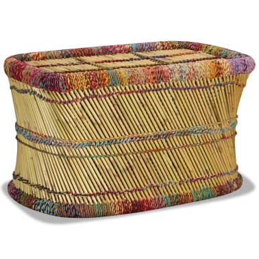vidaXL Couchtisch Bambus mit Chindi-Details Mehrfarbig[2/9]