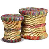 vidaXL Jeu de tabouret 2 pcs Bambou avec détails Chindi Multicolore