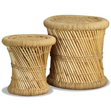 vidaXL Pallar 2 st bambu jute[1/9]