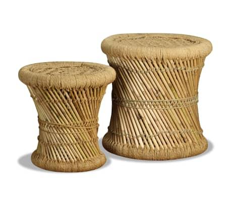 vidaXL Pallar 2 st bambu jute[3/9]