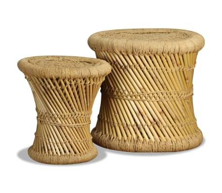 vidaXL Pallar 2 st bambu jute[4/9]