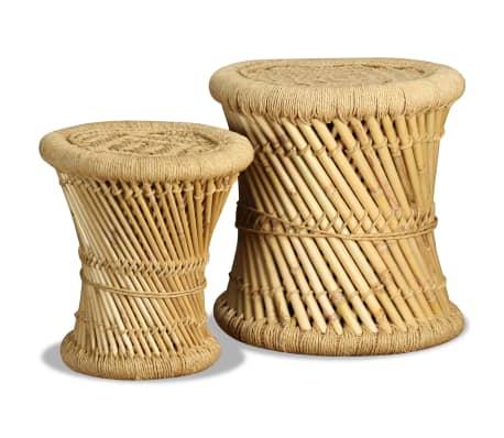 vidaXL Pallar 2 st bambu jute[5/9]