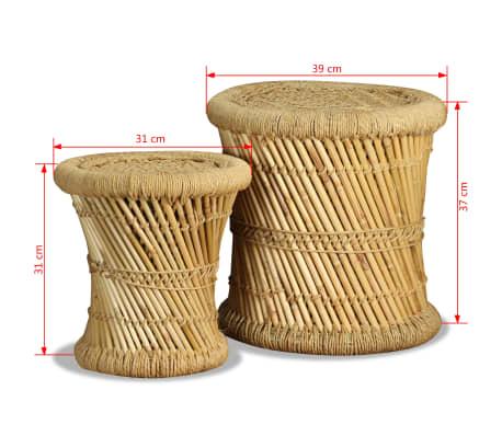 vidaXL Pallar 2 st bambu jute[9/9]