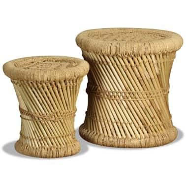 vidaXL Pallar 2 st bambu jute[2/9]
