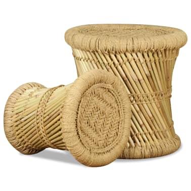 vidaXL Pallar 2 st bambu jute[7/9]