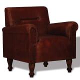vidaXL atpūtas krēsls, brūna dabīgā āda