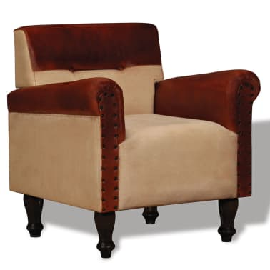 vidaXL Armchair Real Leather and Fabric Brown and Beige[1/6]