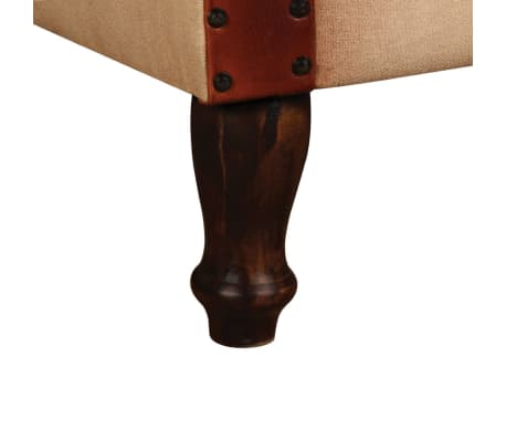 vidaXL Armchair Real Leather and Fabric Brown and Beige[5/6]