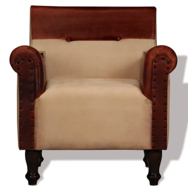 vidaXL Armchair Real Leather and Fabric Brown and Beige[2/6]