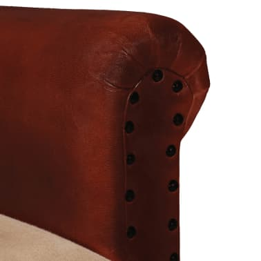 vidaXL Armchair Real Leather and Fabric Brown and Beige[3/6]