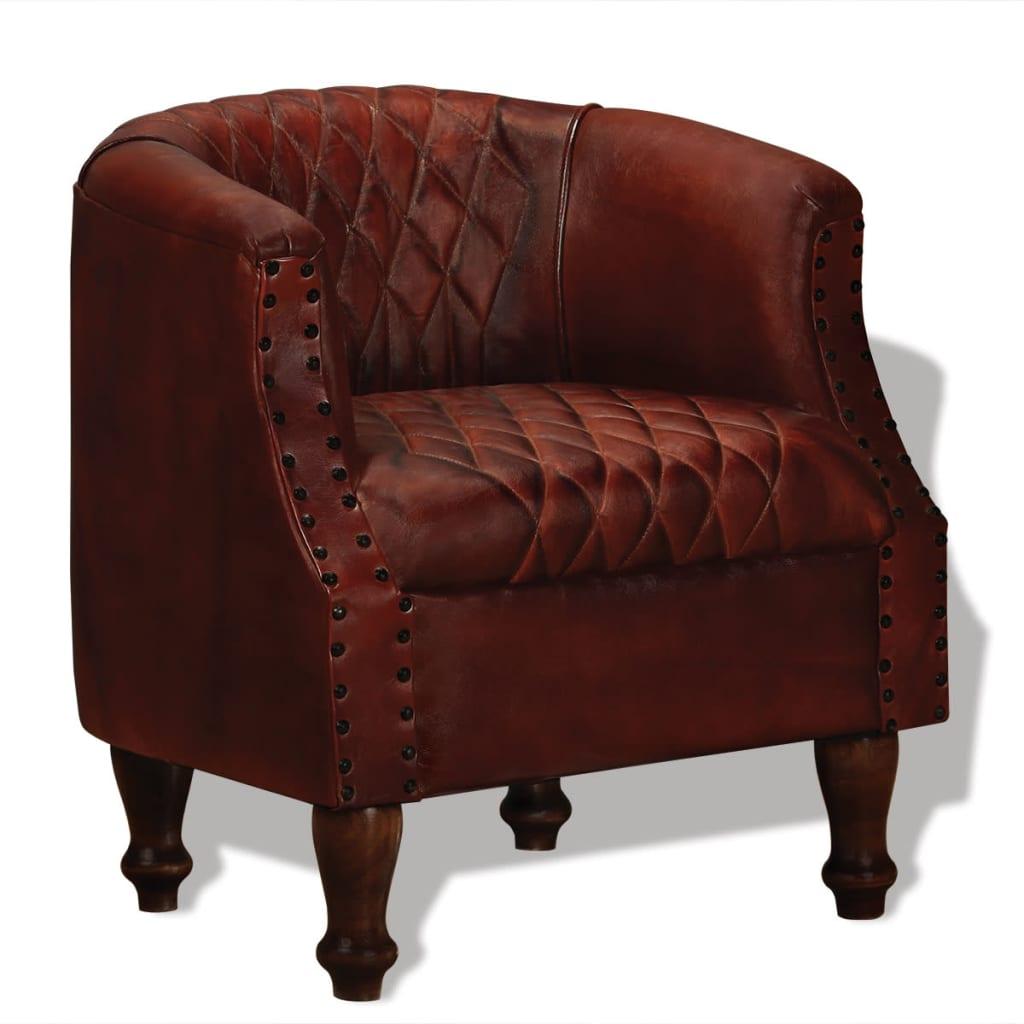 vidaXL Fotel, brązowy, skóra naturalna