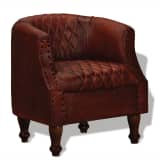 vidaXL Fotelja od Prave Kože Smeđa