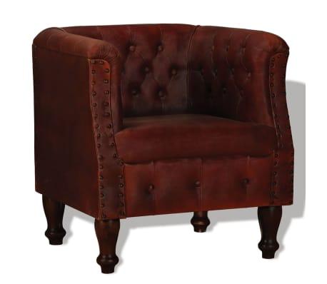 vidaXL Armchair Brown Real Leather