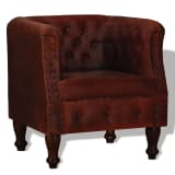 vidaXL atzveltnes krēsls, brūna dabīgā āda
