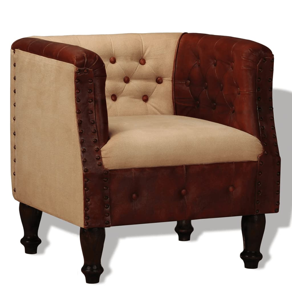 vidaXL Fotel, brązowo-beżowy, skóra naturalna i tkanina
