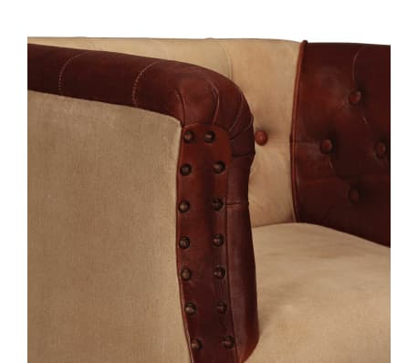 vidaXL Armchair Real Leather and Fabric Brown and Beige[4/6]