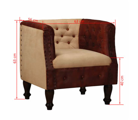vidaXL Armchair Real Leather and Fabric Brown and Beige[6/6]