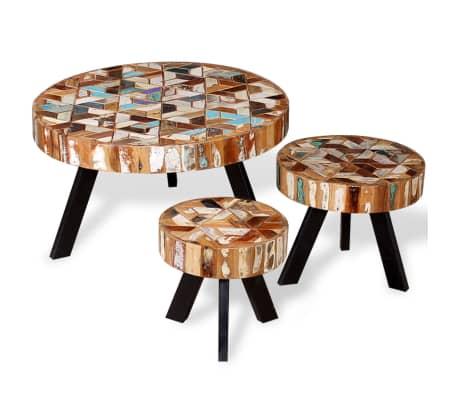vidaXL 3 konferenčné stolíky z masívneho regenerovaného dreva