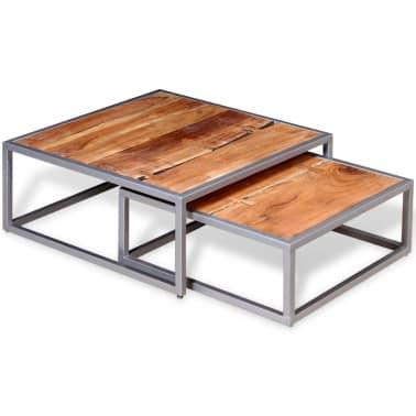 vidaXL Two Piece Coffee Table Set Solid Acacia Wood[2/9]