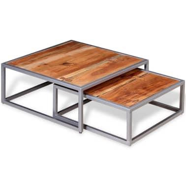 vidaXL Two Piece Coffee Table Set Solid Acacia Wood[3/9]