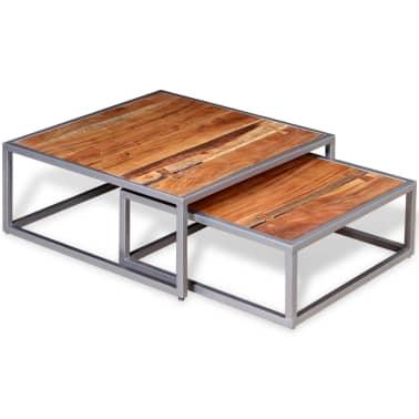 vidaXL Two Piece Coffee Table Set Solid Acacia Wood[4/9]