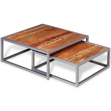 vidaXL Two Piece Coffee Table Set Solid Acacia Wood[5/9]
