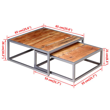 vidaXL Two Piece Coffee Table Set Solid Acacia Wood[9/9]