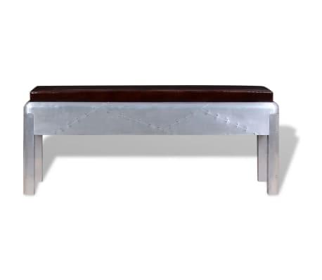 """vidaXL Aviator Bench Genuine Leather 43.3""""x12.6""""x17.7""""[2/4]"""