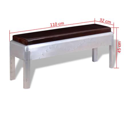 """vidaXL Aviator Bench Genuine Leather 43.3""""x12.6""""x17.7""""[4/4]"""