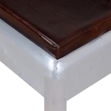 """vidaXL Aviator Bench Genuine Leather 43.3""""x12.6""""x17.7""""[3/4]"""
