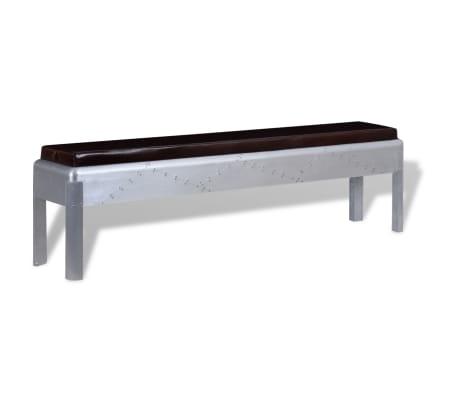 vidaXL Sitzbank im Retro-Industrie-Design Echtleder 160 x 32 x 45 cm