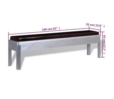 """vidaXL Aviator Bench Genuine Leather 63""""x12.6""""x17.7""""[4/4]"""