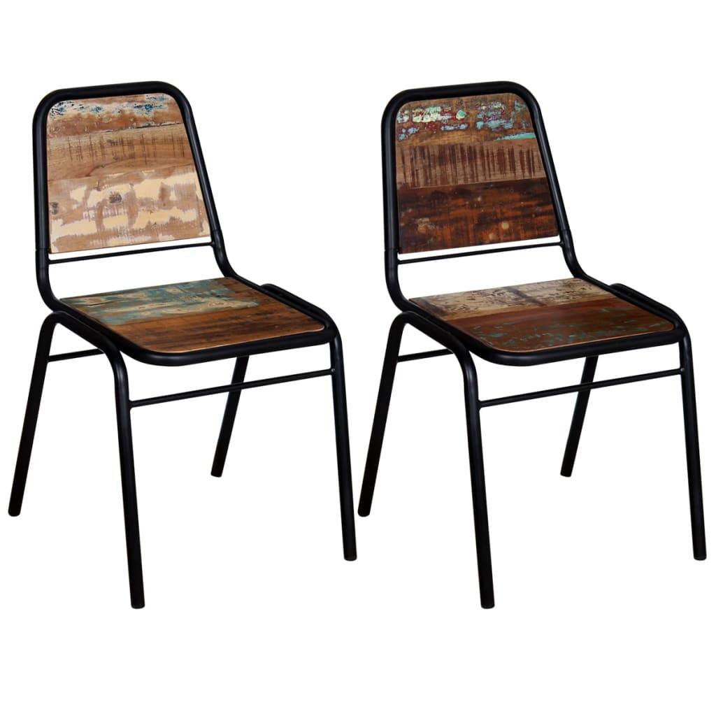vidaXL Καρέκλες Τραπεζαρίας 2 τεμ. 44x59x89 εκ. Μασίφ Ανακυκλ. Ξύλο