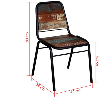 "vidaXL Dining Chairs 2 pcs Solid Reclaimed Wood 17.3""x23.2""x35""[8/8]"