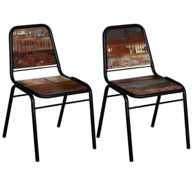 "vidaXL Dining Chairs 2 pcs Solid Reclaimed Wood 17.3""x23.2""x35""[2/8]"