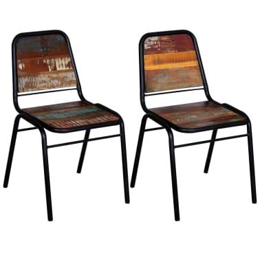 "vidaXL Dining Chairs 2 pcs Solid Reclaimed Wood 17.3""x23.2""x35""[3/8]"