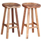 vidaXL Bar Stools 2 pcs Solid Acacia Wood