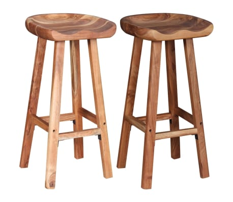 vidaXL Bar Stools 2 pcs Solid Acacia Wood[2/9]