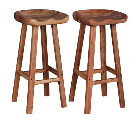 vidaXL Bar Stools 2 pcs Solid Acacia Wood[3/9]