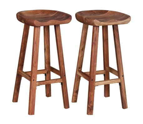 vidaXL Bar Stools 2 pcs Solid Acacia Wood[4/9]
