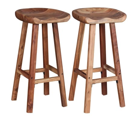 vidaXL Bar Stools 2 pcs Solid Acacia Wood[5/9]