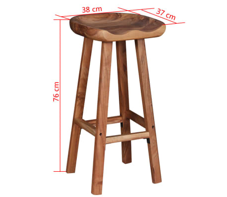 "vidaXL Bar Stools 2 pcs Solid Acacia Wood 15""x14.6""x30""[9/9]"
