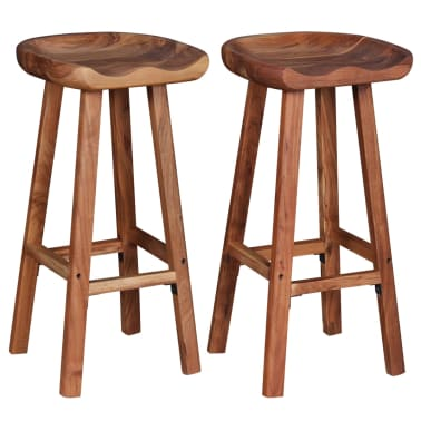 "vidaXL Bar Stools 2 pcs Solid Acacia Wood 15""x14.6""x30""[3/9]"
