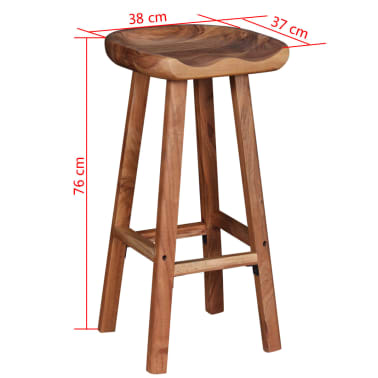 vidaXL Bar Stools 2 pcs Solid Acacia Wood[9/9]