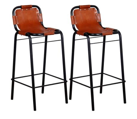 vidaXL Bar Stools 2 pcs Real Leather