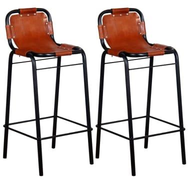 """vidaXL Bar Stools 2 pcs Genuine Leather 18.1""""x17.7""""x37""""[1/5]"""