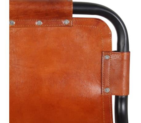 """vidaXL Bar Stools 2 pcs Genuine Leather 18.1""""x17.7""""x37""""[4/5]"""